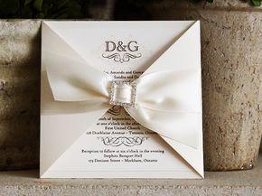 Convites de casamento de luxo com laço - Para convites de casamento sofisticados ainda mais elegantes, combine o laço com outro elemento