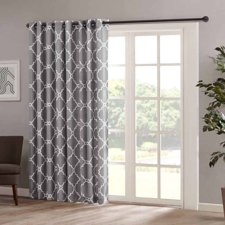 Madison Park Saratoga 84 Inch Grommet Top Patio Door Window Curtain Panel  In Grey