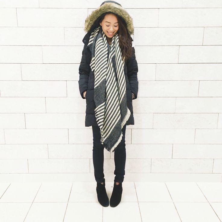 My style: Babaton parka from Aritzia, Rag and Bone black skinny jean, Noul blanket scarf from Oak and Fort, Isabel Marant Dicker boot #dailylook #dailyoutfit #fashion #fashiondiaries #lookbook #mystyle #ootd #outfit #ootdwatch #style #stylegram #styleinspo #streetlook #streetstyle #streetfashion #wiwt #whatiwore #ragandbone #aritzia #isabelmarant #noulgirl #oakandfort