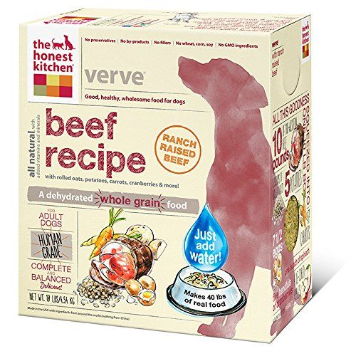 The Honest Kitchen Verve Organic Whole Grain Dog Food - Natural Human Grade Dehydrated Dog Food, Beef,10 lbs (Makes 40 lbs) - ABOUT VERVE DEHYDRATED DOG FOOD: Before there was The Honest Kitchen, there was Verve. Originally cooked up in the kitchen of Lucy (the company founder), this was the recipe that started it all. With ranch-raised beef, fresh produce and organic whole grain goodness, Verve is a perfect choice for ...