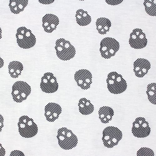 "Black Linear Skulls on White Cotton Jersey Blend Knit Fabric - Cool tossed linear skulls repeating design on a natural white cotton jersey rayon blend knit. Fabric has a soft hand, nice stretch and drape, and is light weight.  Biggest skull measures 1 1/4"" for scale.  ::  $6.25"