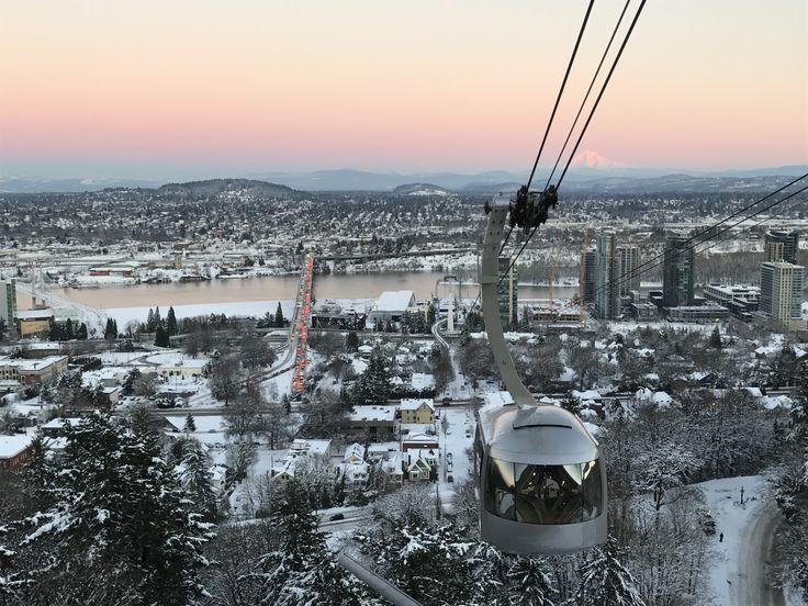 Portland, Oregon Aerial tram at Sunset