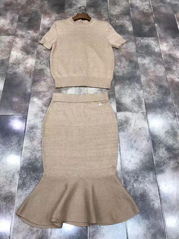 2017 718 summer new women's rear buckle shirt fish tail put half skirt knitting suit #Affiliate