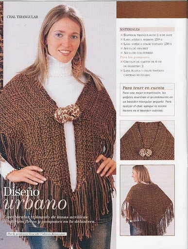 Poncho on triangular loom, instructions are in Spanish. Some graphics available. Use your web translator. -- Tejidos y Telares: telar triagular
