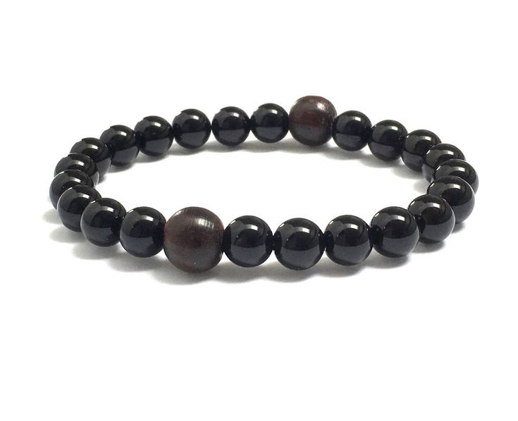 Excited to share the latest addition to my #etsy shop: Obsidians Dragonglass Rosewood Men Wood Bead Bracelet, Chakra Mala Bracelet, Worry Beads, Mens Beaded Bracelet, Fathe's Husband Gift for Him http://etsy.me/2CW5VxG