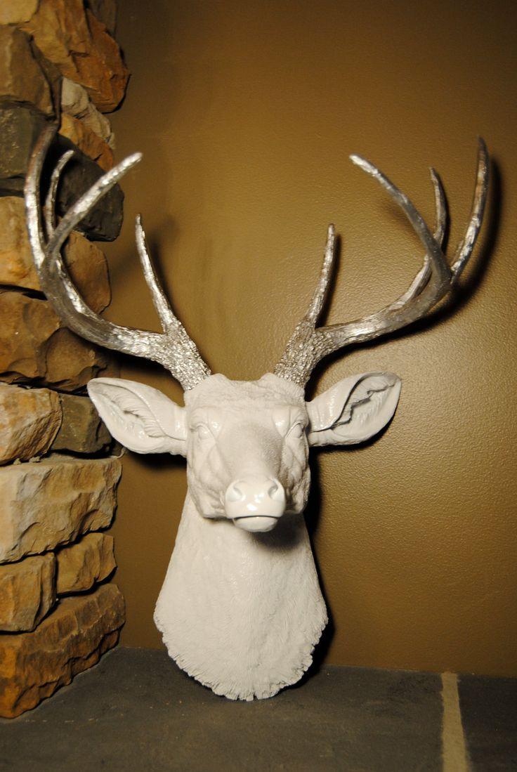 Deer Head Wall Mount In White And Silver Deer Head