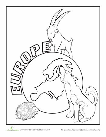 Europe Coloring Page kiddie crafts Continents Worksheets