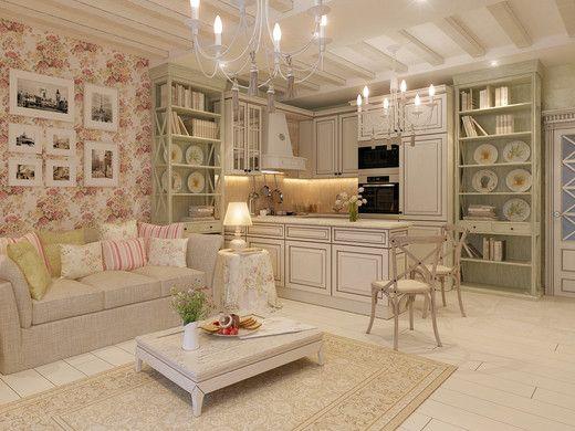 Дизайн квартиры в Сочи-Прованс, Шебби-шик. Квартира-студия