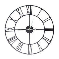 photo Horloge Murale à l'ancienne en Fer Forgé Noir