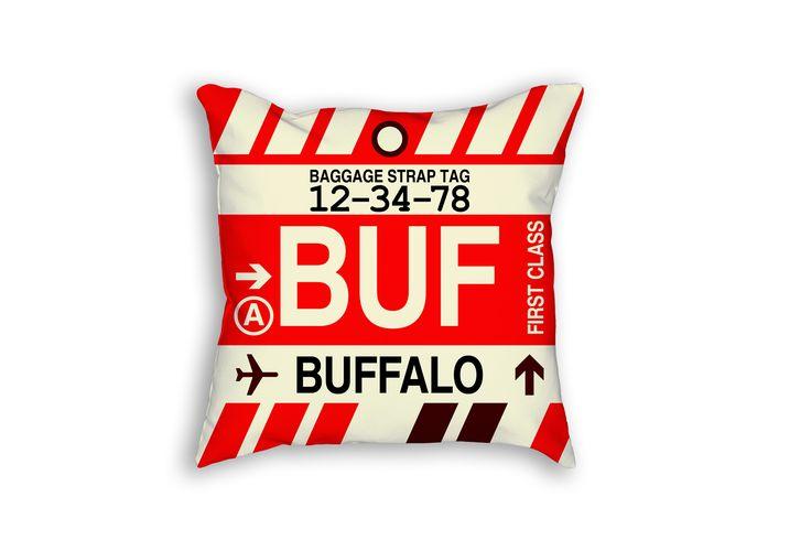 BUF Buffalo Airport Code Baggage Tag Pillow