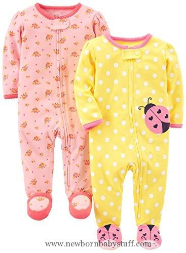 Baby Girl Clothes Simple Joys by Carter's Baby Girls' 2-Pack Cotton Footed Sleep and Play, Pink Floral/Ladybug, Newborn