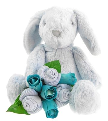 This gorgeous baby gift combines the most super-soft Bailey Bunny with a sweet mini sock bouquet (3 pairs of baby boy socks wrapped just like a little flower posy).  A great gift for a baby boy - Bailey is sure to become one of baby's favourites.