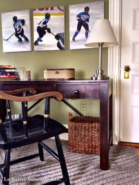 Teen Boy Bedroom with a Hockey Theme - Study hard, play hard