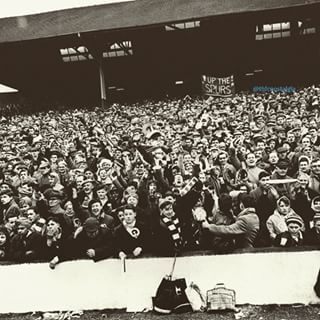 Spurs fans at White Hart Lane for a league match against Man Utd 1962 which Spurs won 6-2 in front of a 51,314 crowd