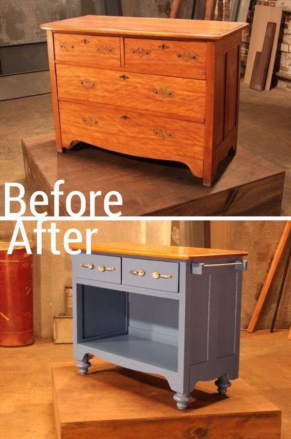 Turn an Old Dresser into Useful Kitchen Island.