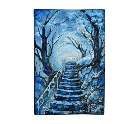 Elven path  original oil painting on canvas elven art by JankaLart