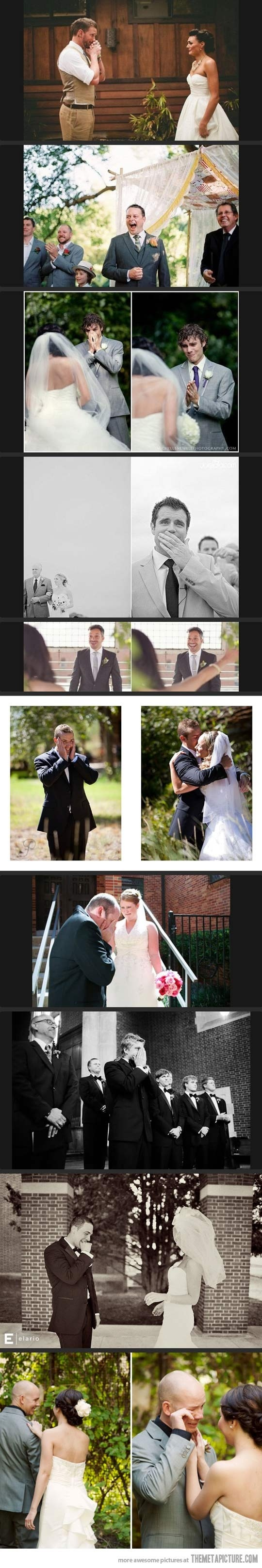 Actual pictures of when the groom first saw the bride...