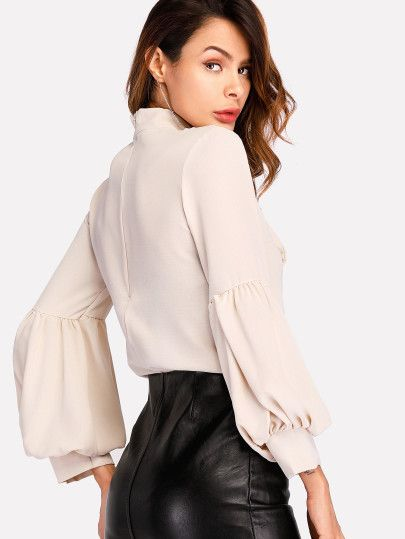 b4986dea88 Shop Tie Neck Balloon Sleeve Blouse online. SheIn offers Tie Neck Balloon Sleeve  Blouse & more to fit your fashionable needs.