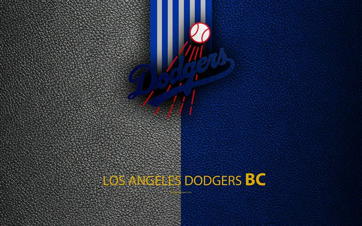 Download wallpapers Los Angeles Dodgers, 4K, American baseball club, National League, Western Division, leather texture, logo, MLB, Los Angeles, California, USA, Major League Baseball, emblem