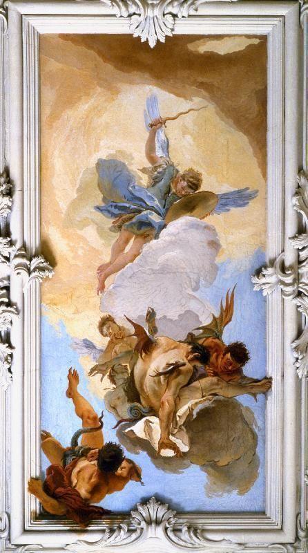 Queda dos anjos rebeldes.  Giambattista Tiepolo  Afresco, Palácio Patriarcal, Udine.  1726