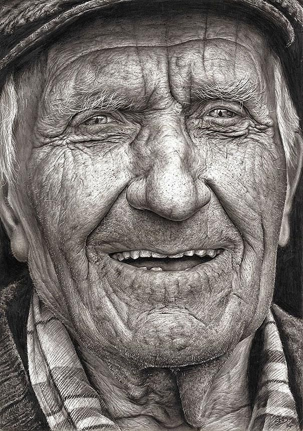 "Talented 16-year-old artist Shania McDonagh just won the annual Texaco Children's Art Competition in Ireland with ""Coleman,"" her amazing hyperrealistic pencil drawing of an old man..."