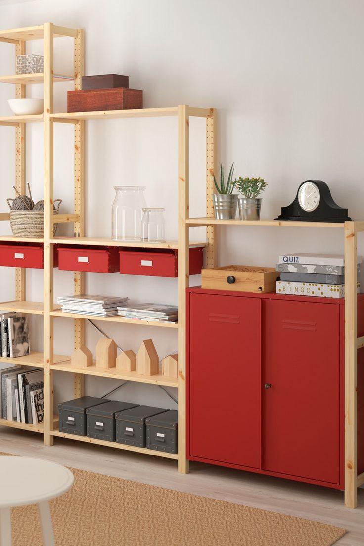 IVAR Regal mit Schränken/Schubladen - Kiefer, rot - IKEA ...