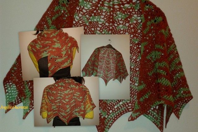 crochet shawl. I tried to make a revontuli shawl, but this it is crochet, not knit.