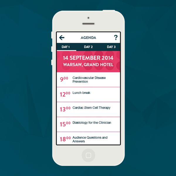 Simple flat design showcase of the conference app