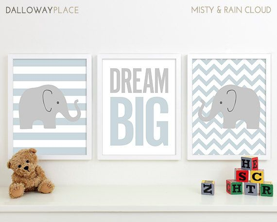 Baby Boy Art Chevron Elephant Nursery Decor by DallowayPlaceKids, I will change the elephant's color to pink
