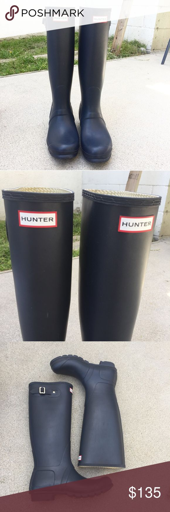 Hunter Matte Navy Rain Boots Welly Tall Size 10. New without box. There are some scratches but never worn! Hunter Shoes Winter & Rain Boots