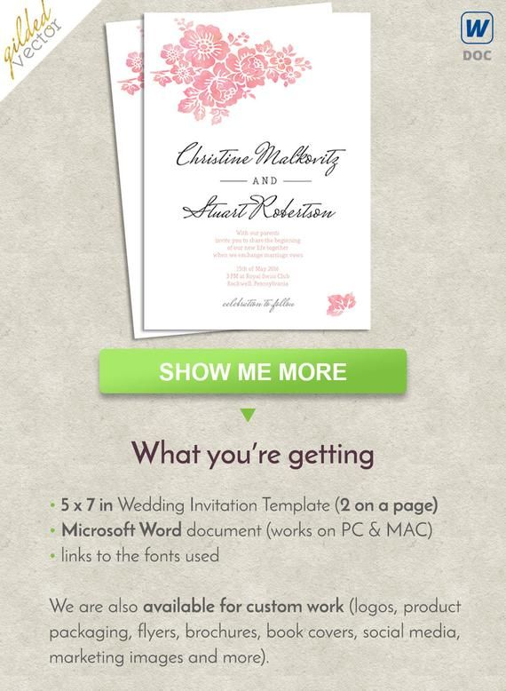 Watercolor Wedding Template Flowers Word Card Print At Home Invite