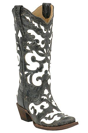 Corral Ladies Antiqued Black w/ White Inlay Snip Toe Western Boot. I love these but I know I would probably not wear them as much!!!