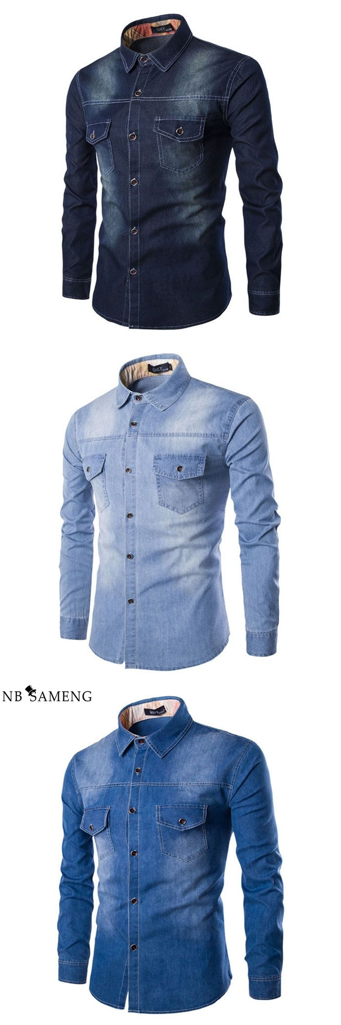 2016 Brand Men Casual Denim Shirt Autumn Slim Fit Jeans Male Long Sleeve Shirts Mens Clothing Camisa Masculina 3 Colors 13M0661