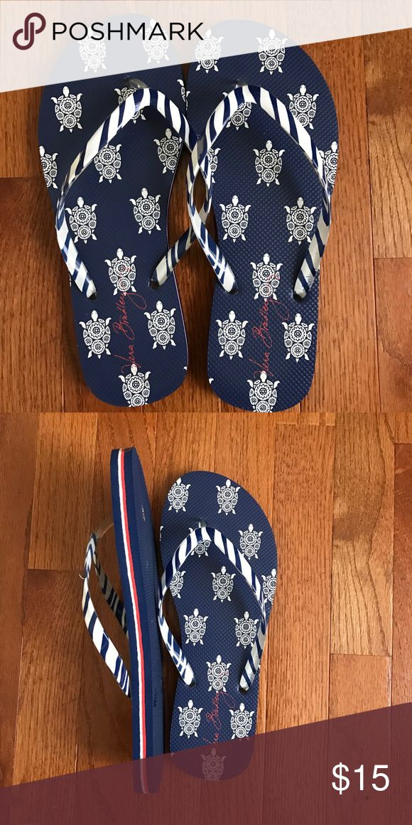 Vera Bradley blue and white flip flops; NWOT Vera Bradley blue and white flip flops with turtles; NWOT Vera Bradley Shoes Sandals