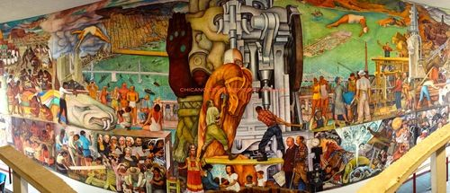 "diego rivera chicano art movement at city college san francisco ""Pan American Unity"""