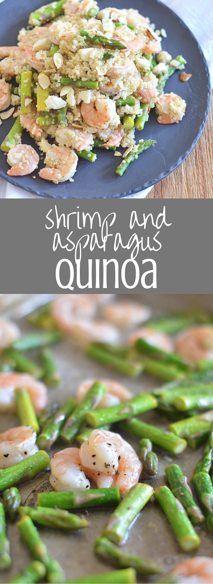 Shrimp and Asparagus Quinoa || A healthy and light lunch or dinner option, this quinoa salad is packed with pan-roasted shrimp and asparagus, fresh lemon, crumbled feta, and crunchy sliced almonds. Pin for later!