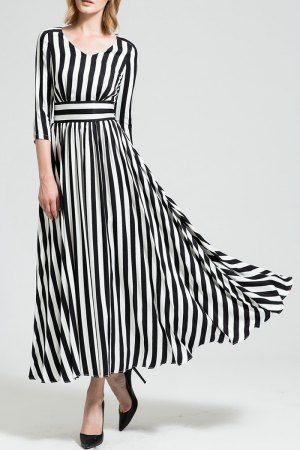 Shop borme white/black a line striped maxi swing dress here, find your maxi  dresses at dezzal, huge selection and best quality.