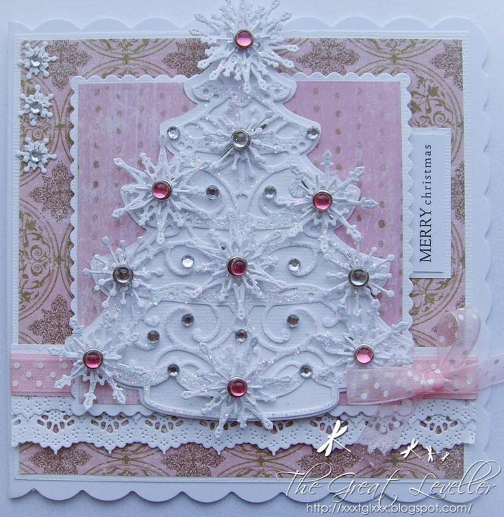 Stunning white christmas tree card with gemstone