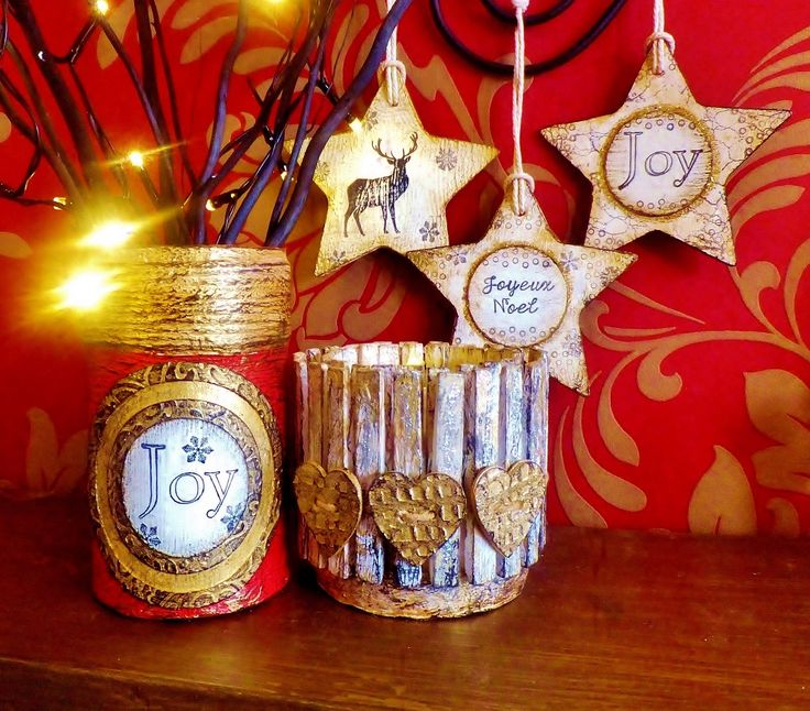 Selection of Christmas items handmade from ReCycled Materials by Sue Hassell available from ReInventedPaper Etsy