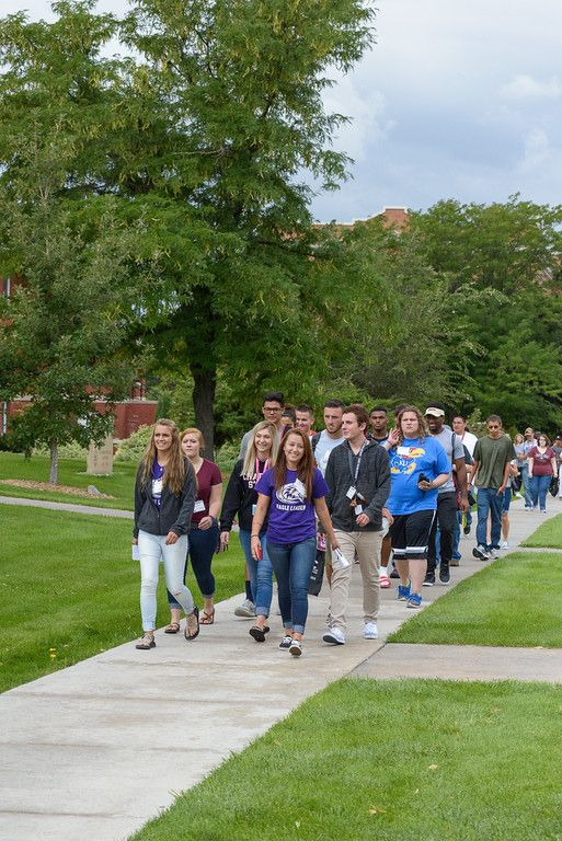 Chadron State College Eagle Leader Gabby Moody, right, and her group of freshmen head to the Student Center for a lunch break during New Student Orientation. (Photo by Dewayne Gimeson/Chadron State College)