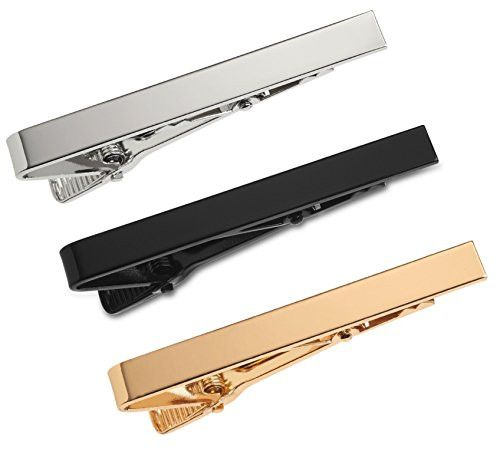 3 Pc Mens Tie Bar Pinch Clip Set for Regular Ties 2.1 Inch, Silver-Tone, Black, Gold-tone by Puentes Denver. Great versatile tie clip set!