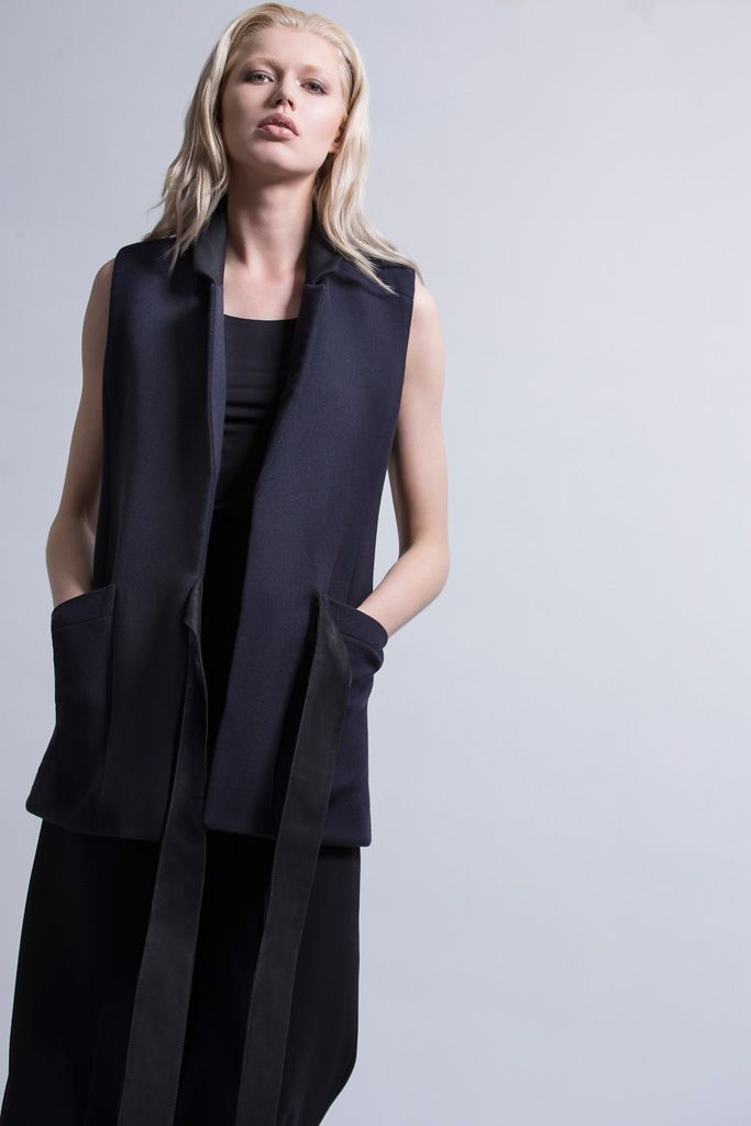 The Alexa - wool vest leather embellished