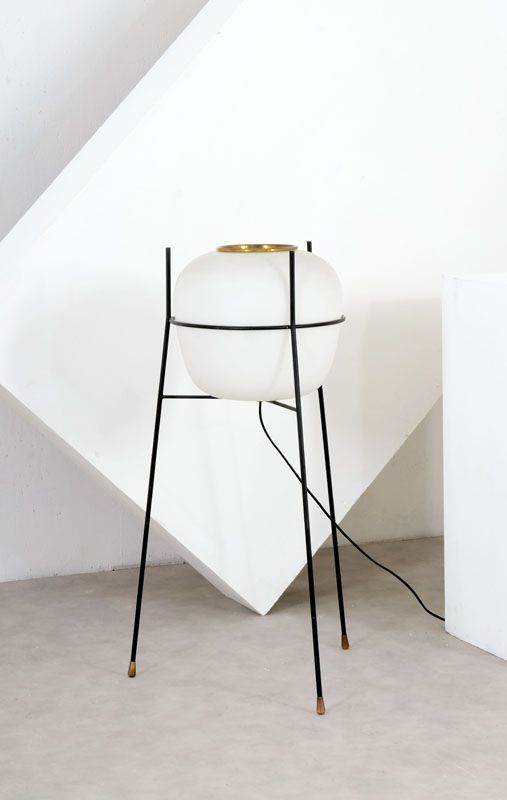 Anonymous; Enameled Metal, Glass and Brass Floor Lamp by Stilnovo, 1950s.