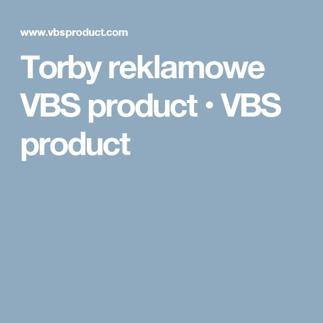Torby reklamowe VBS product • VBS product