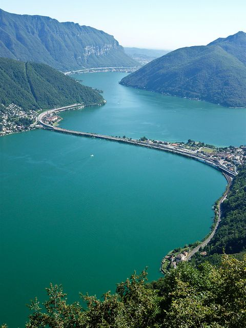 Lake Lugano - Switzerland I used to drive across the Ponte Diga in Melide every day.... missing my home country...