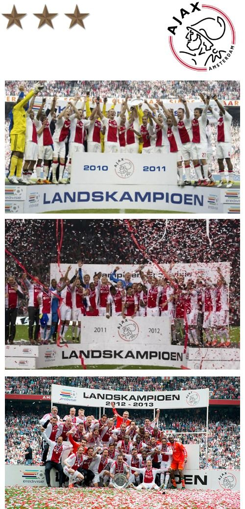 AFC #Ajax Amsterdam is the biggest football club in the Netherlands. Ajax has won 32 Eredivisie titles, 4 Champions League titles and many more prizes. Last 3 years, Ajax became champion of the Dutch #Eredivisie. And because Ajax now has 30+ league titles, there are 3 stars above the logo, each of them representing 10 titles.