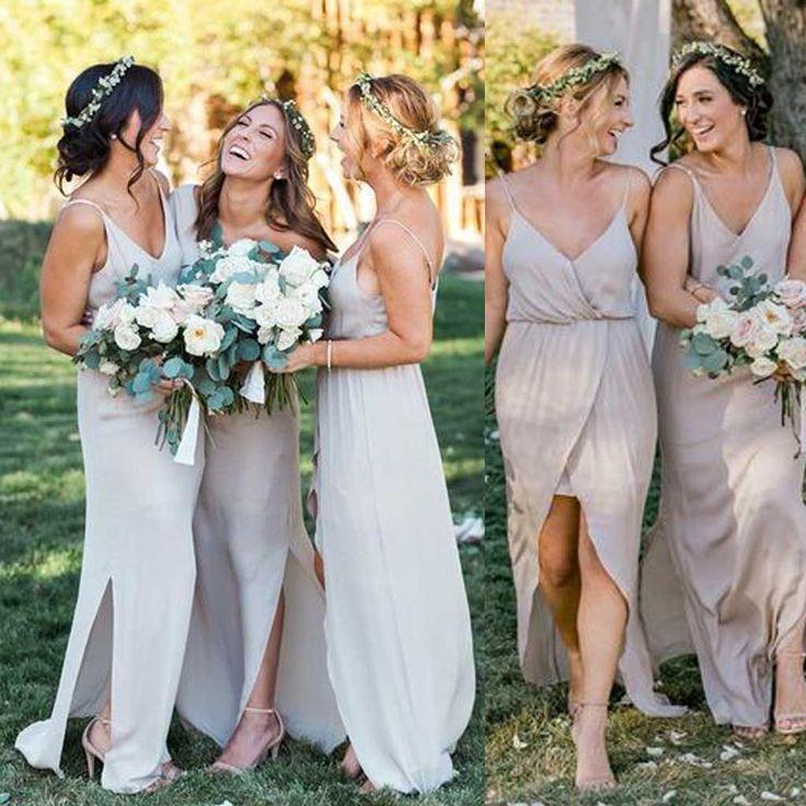 Lovely Simple Cheap Chiffon Spaghetti Strap Side Split Long Bridesmaid Dresses for Beach Wedding Party WG