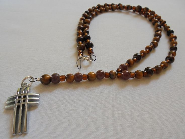 """Unique Handmade Rosary of of Glass Brown beads, """"Tiger's Eye"""" beads, Silver 925 clasps & Stainless Steel Cross. Length: 37cm"""