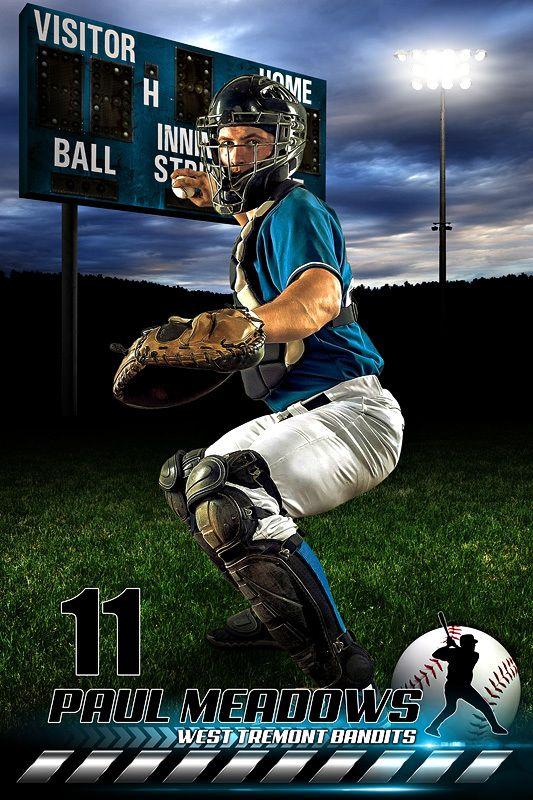 Player Banner Sports Photo Template - Hometown Baseball II - Photoshop Sports Template