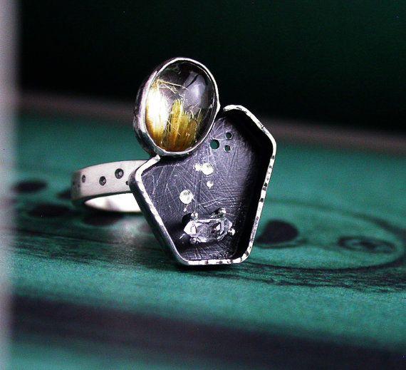 Quartz rutile doré Herkimer diamant Quartz bague en par studio94
